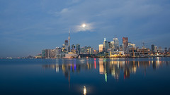 Reflecting Brightly DSN_0287 (iloleo) Tags: toronto skyline night moon reflection longexposure le lakeontario urban cntower cityscape nikond7000
