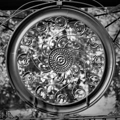 Greenville B&W (hennessy.barb) Tags: blackandwhite bw gate fence decorative circular round symmetrical