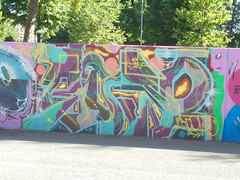 199 (en-ri) Tags: atomo hds bujo viola giallo verde torino wall muro graffiti writing parco dora