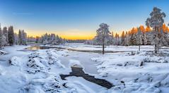Winter came in Koiteli (M.T.L Photography) Tags: landscape panorama clouds winter water trees nordic horizon color copyright night finland suomi nikond810 mtlphotography sunset koiteli kiiminki