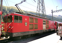 "Matterhorn Gotthard Bahn (MGB) Class Deh 4/4 motor luggage van No. 92 ""Realp"" at Oberwald on 13 Aug 2016 (Trains and trams eveywhere) Tags: mgb matterhorngotthardbahn deh44 electric motorluggagevan realp switzerland railways schweiz gotthrd furka"