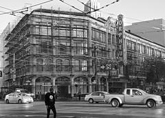 Orpheum Theater - San Francisco, CA (Rex Mandel) Tags: blackandwhite bw sanfrancisco sf architecture scaffolding street orpheumtheater overheadwires marketstreet