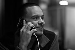 No Beef No More (Brotha Kristufar) Tags: portrait portraiture monochrome monochromatic blackandwhite phone talk indoor indoors fun comedy 50mm canon nyc thebronx good times explore explored