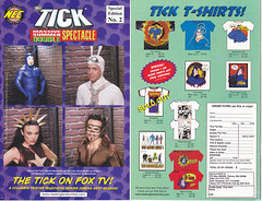 THE TICK ON FOX TV MASSIVE SUMMER DOUBLE SPECTACLE NUMBER 2 (vsndesigns) Tags: the tick pencil indie shocker gbjr toys with tie and tshirt zombie in a steel box fox promotional totally kids magazine 45 club spoon taco bell meal commercial eli stone ben edlund little wooden boy comic book merchandise rare limited edition 80s 90s collector museum naked super hero heroine funny comedy tv color thetick indoor surreal cartoon coffee mug ceramic cup black blue text poster illustration collection sketch cover white necpress