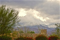 Storm in the Desert (The Spirit of the World) Tags: ranchomirage california southerncalifornia foliage snow mountains peaks storm architecture desert clouds sky nature bougainvillea vines landscape