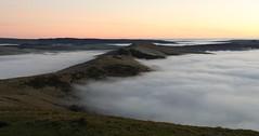 Great Ridge Pre-dawn (Derbyshire Harrier) Tags: predawn 2016 winter mist fog inversion mamtor greatridge peakdistrict peakpark pink derbyshire hopevalley dawn morning nationaltrust november
