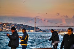 Bosphorus Landscape (ImSaidoww) Tags: landscape manzara istanbul skdar bosphorus boazii bridge sea deniz city life people fisher fisherman hdr richtone