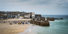 St Ives, Cornwall (Caroline Oades) Tags: stives cornwall england uk coast harbour lighthouse boats quay town houses hill 253366 38 992016 seaside sea water ocean coastaltown