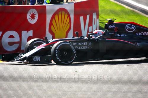 Jenson Button in Free Practice 1 for the 2015 Belgium Grand Prix