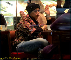`1468 (roll the dice) Tags: uk portrait england urban reflection sexy london art classic window glass girl look fashion cake night shopping dark fun cafe chair funny pretty moody natural legs tea candid muslim islam religion headscarf streetphotography makeup stranger sandwich tourist bum knightsbridge arab saudi oil unknown denim kuwait turban wisdom tight pm niqab thick chunky burqa unaware brompton sw1 londonist burka sw7