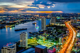 Bangkok as seen from the condominium Starview, by Eastern Star on Rama III road.