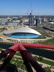 To The London Aquatics Centre (peterphotographic) Tags: uk england london canon view britain bluesky aerial olympics olympicpark stratford eastlondon olympicgames newham g15 londonaquaticscentre arcelormittalorbit queenelizabetholympicpark peterhall img4767edwm