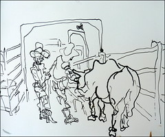 Bull Rider Preparing (Kerry Niemann) Tags: bullriding linedrawing penandink apachejunction