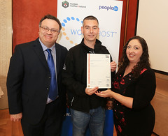 Paul McCann from Sandy Row Tours, Belfast is presented with his Customers with Disabilities certificate at the WorldHost Celebration and Certificate Presentation