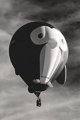 Flying penguin (Relworg) Tags: sky blackandwhite monochrome clouds penguin flying balloon flight hotairballon