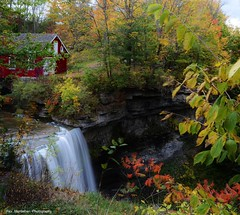 the red house by the waterfall (ok it is not a house) (Rex Montalban Photography) Tags: waterfall niagara decew morningstarmill rexmontalbanphotography