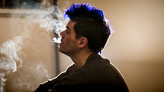 Una noche de humo con sabor a menta (Fiorella Momigliano) Tags: naturaleza planta rock noche exposure doubleexposure cerveza double humo exposicion doble cigarro cigarrillo menta tintura