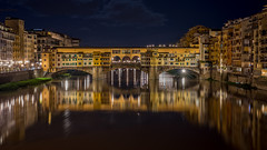 Firenze Ponte Vecchio (Fret Spider) Tags: bridge light vacation sky italy cloud reflection water architecture night river outdoors 50mm florence symmetry apo firenze manual pontevecchio mirrorless leicaaposummicron50mmf20asph sonya7ii