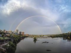 RVA Rainbow (Joey Wharton) Tags: city river landscape outdoors james virginia rainbow double richmond va rva