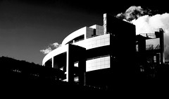 the light and the dark (zzra) Tags: light sky cloud white black building architecture contrast dark fuji center getty xt1