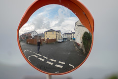 Mirror Selfie (Howie Mudge LRPS) Tags: mirror reflection selfie person me houses buildings street sky clouds road lines fun project test tywyn gwynedd wales cymru uk outside outdoors fuji fujifilm fujifilmxt1 helios13528 m42 vintage lens classic