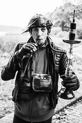 Shisha-to-go; The freak (Rainer D) Tags: 2016 dobbertin mecklenburgvorpommern deutschland shisha shishatogo freak thefreak street portrait streetportrait bw bwportrait