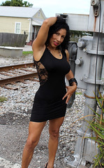 Little Back Dress at Railroad crossing. (California Will) Tags: edna model latina ybor city tampa fl florida blackdress beauty beautiful beaut hermosa railroad
