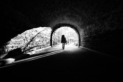 centered~ New York City (~mimo~) Tags: newyork usa new york manhattan central park tunnel blackandwhite light shadow dark woman street streetphotography spring humansingeometry