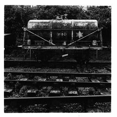 Sulphuric Acid (FTonyC) Tags: blackandwhite monochrome film minoltaautocord kodaktmax fomadonr09 tlr analogue 120film mediumformat bristol railway rail transport freight tanker sulphuricacid