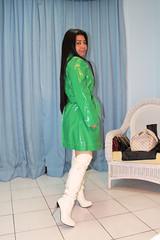 Shiny Green Mac (johnerly03) Tags: erly philippines asian filipina raincoat rainwear shiny mac knee length high heel boots long hair