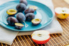 Flat blue dinner plate with plums, halves of apples (ddanilejko) Tags: photography food fruits sweet eat plum apples cut healthyeating colorimage vibrant vitamin useful organic blue yellow white woodtexture plate kitchentowel сutout raw whole dieting nature nopeople ingredient summer autumn ripe vegetarianfood crosssection slice dessert indoors snack halved variation red napkin