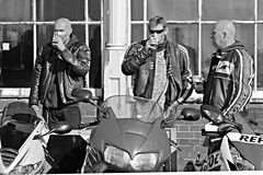 Liquid lunch (Finding Chris) Tags: brightonandhove madeiradrive brightona sussexheartfoundation fundraising bikers leathergear pint beer motorbikes