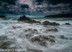 Kilfarrasy Beach 2-Explored (George O Mahony) Tags: ireland waterford kilfarrasy beach waves water stormy rocks longexposure explored