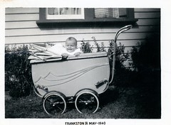 VINTAGE PRAM WITH JAMES NELSON NEAL . 6 MONTHS OLD IN 1940 (JOHN MORGAN .) Tags: vintage found photo uk unusual unitedkingdom unknown unique interesting different old photos photographer people white bw black british kissing johnmorgan baby child infant