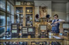 BCLM Radio Shop (Darwinsgift) Tags: bclm black country living museum radio shop vintage retro antique retail store bygone age era history hdr photomatix 1930s bacolite radios voigtlander 20mm f35 color skopar sl ii nikon d810