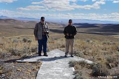 Bruce Gregory and Stephen Johnson at giant arrow #10, Golconda Summit, Nevada (walkerross42) Tags: giant concrete arrow navigation airmail pilots golconda summit nevada photographer