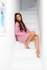 Layla - Boucle Hoodie Dress - Dusky Pink (Bedroom Athletics) Tags: womens layla boucle hoodie dress dusky pink by bedroom athletics relaxed fit front pouch pocket pom drawstring hood branded suede logo patch girl lady womans lush love lovely lounge sunday chill out fun funny warm buy woman warmth nice gift shoe slipper furry comfortable comfort happy cosy shopping need want