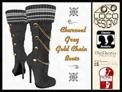 Charcoal Grey Chain Boots w/ socks (venturis_gal) Tags: belleza slink tmp maitreya classic size charcoal grey black leather knee high boot physique hourglass freya isis venus