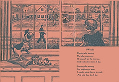 Where do they all go to work? (katinthecupboard) Tags: vintagechildrensillustrations vintagechildrenssociology socialscience 1937 clarencebiers biersclarence townlife poem monotone endpapers dog
