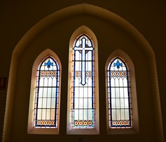 Stained glass windows in memorial porch, St Peters Anglican Church, Glenelg, South Australia (contemplari1940) Tags: stained glass windows memorialporch stpeters glenelg anglican church tennantfamily andrewtennant racheltennant