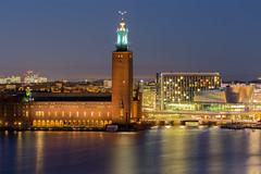 Stockholm City Hall from monteliusvägen (martindjupenstrom) Tags: stockholm cityhall blurhour sweden city stockholmcityhall stadshuset malaren canon eos6d night traffic dslr canoneos6d lights sverige bridge stad