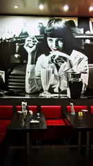 Uma in the caf - Abruzzi Italy (Caterina M.) Tags: caterinamulieri abruzzi uma bn red redlips bar