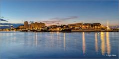 Pescara (Luigi Alesi) Tags: pescara italia italy abruzzo tramonto sunset ora blu blue time luce light riflessi reflections porto fiume paesaggio landscape scenery citt town luci lights fujifilm xm1 raw