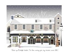 Merry Christmas! (Best viewed large) (Laura's Aura) Tags: edinburgh city candlemaker church kirkyard rudolph christmas pub inn tavern greyfriars bobby dog skye terrier snow vector art design