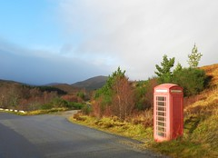 Red Telephone Box, Oykel Bridge, Nov 2016 (allanmaciver) Tags: red telephone box oykel sutherland under threat british telecom remote old iconic road route trees stay allanmaciver class style