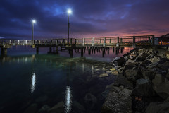 Daybreak (llabe) Tags: daybreak sunrise nightlights pier rocks pugetsound commencementbay tacoma washington nikon d750