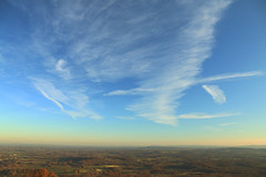 Perfect winter sky... (shurst2011) Tags: southdownsnationalpark blackdown hill view panorama westsussex southernengland rural idyl uk winter december sunset twilight sky cloud formation vapourtrail contrail 280 meters highpoint vantagepoint haslemere canon70d gimp 1585mm vista ditchling beacon horizon