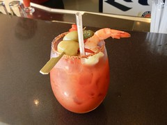 Jim's Special Bloody Mary (jjknitis) Tags: 2016 hollandamerica nieuwamsterdam bloodymary shrimp olives tomatojuice