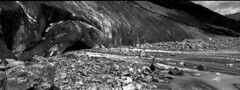 Morteratschgletscher, xpan (Fabio Stoll) Tags: white black mountains alps analog self switzerland kodak outdoor stones trix hc110 400 epson gletscher developed morteratsch v700 einfarbig xpan2 moräne koadak hasselbland morteratschgalcier