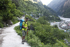 Towards Ghangaria Village (koustuvb) Tags: world park flowers sky cloud india mountain plant heritage field grass june trekking trek river landscape outdoor hill may july august ridge national valley uttaranchal mountainside sahib tours grassland hemkund himalayas sites foothill joshimath govindghat uttarakhand chamoli rudraprayag ghangharia pushpawati